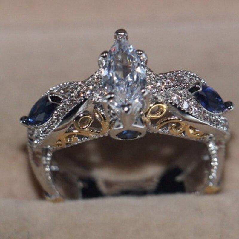 Новый Дизайн большой голубой циркон серебряный Цвет Свадебные Обручение кольца для Для женщин Promise Ring Модные украшения