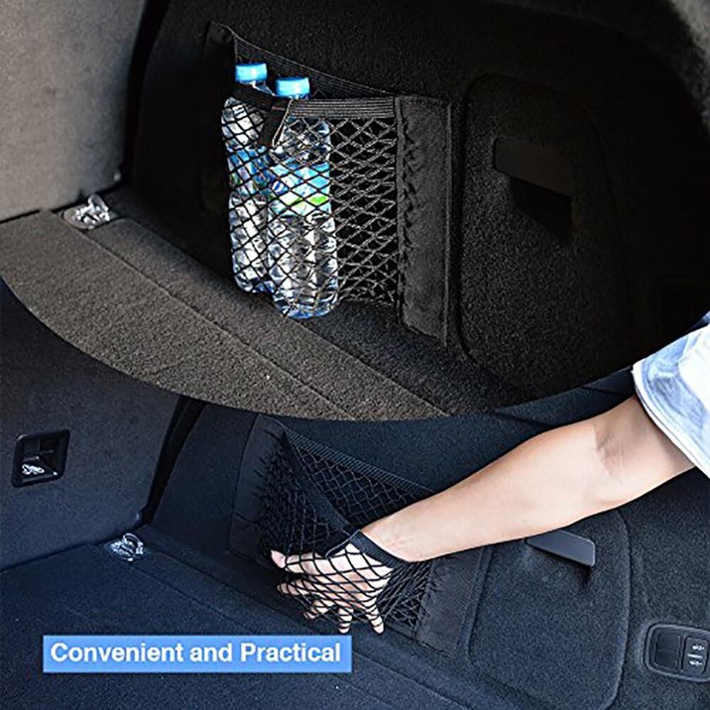 Universal Trunk Organizer Rear Trunk Back Seat Cargo Mesh Net Bag Flexible Nylon Car Storage Wall Sticker Pouch Bag цена 2017