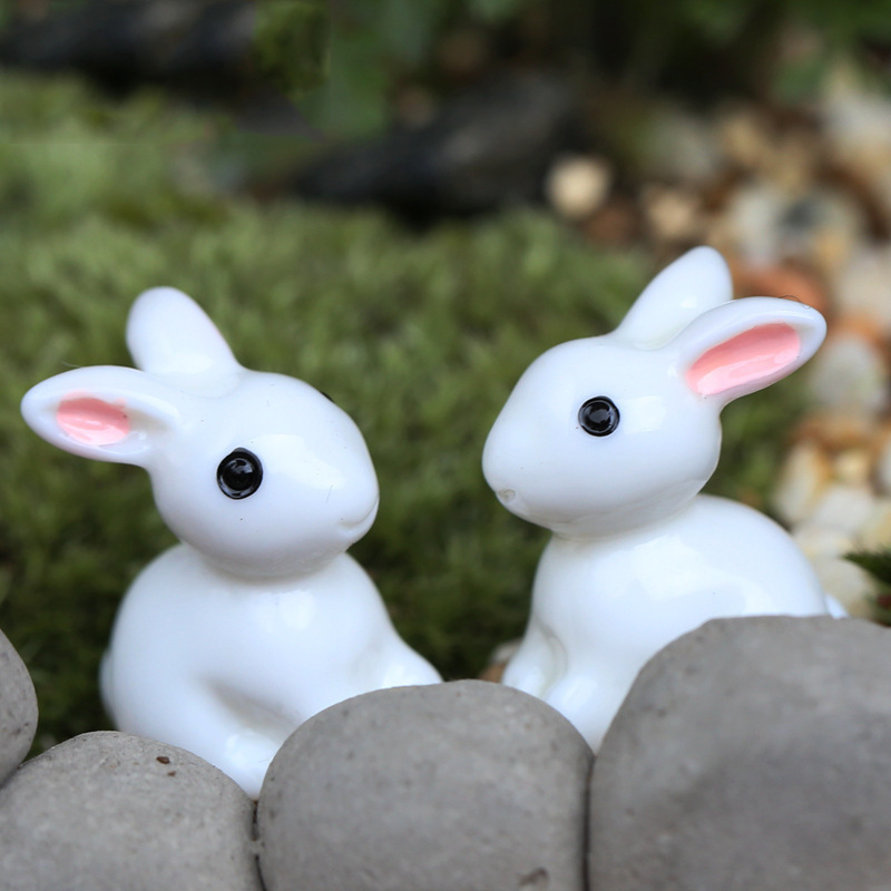 10pcs resin bunnies mixed garden miniatures cute crafts figurines garden decoration small white rabbit bunny