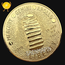 Mercury Gemini Apollo 50th Anniversary Commemorative Coin US Space Astronauts on the Moon Liberty Footprint Coins Collectibles