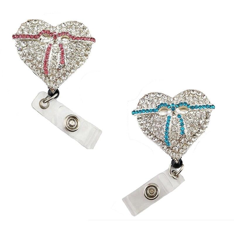50/100 pièces strass coeur forme cancer du sein sensibilisation rose et bleu ruban rétractable id badge titulaire bobine