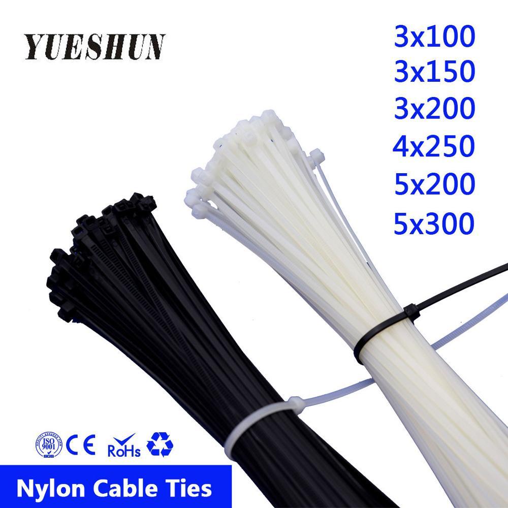 100 pièces Attaches de Câble En Nylon 3*100 3*150 3*200 Blanc Noir Câble Attaches De Fil Autobloquant 5*300mm Attaches 100mm 150mm 200mm 250mm