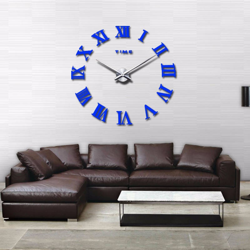 promotion 16 new home decor large roman mirror fashion modern Quartz clocks living room diy wall clock watch free shipping 12