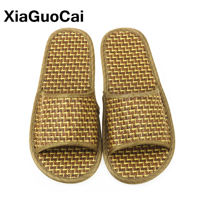 Unisex Summer Slippers Natural Cane Cool Bamboo Rattan Men Home Slippers Antiskid Woven Shoes For Lovers Lightweight Wholesale in Slippers from Shoes