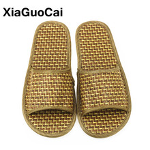 Unisex Summer Slippers Natural Cane, Cool Bamboo Rattan Men Home Slippers, Antiskid Woven Shoes For Lovers Lightweight Wholesale summer leisure slippers for lovers
