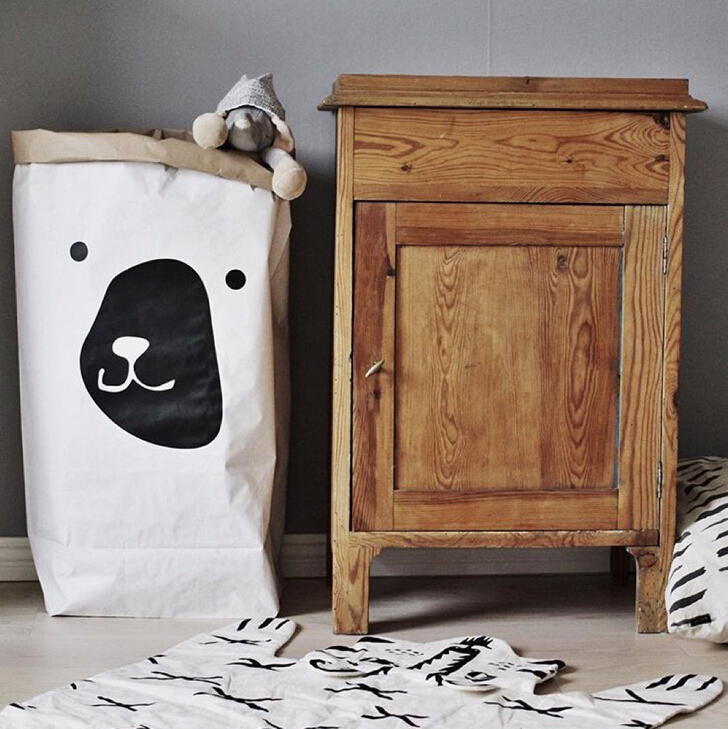 Kraft Paper Baby Toys Storage Bags Children Room Dirty Clothes ...