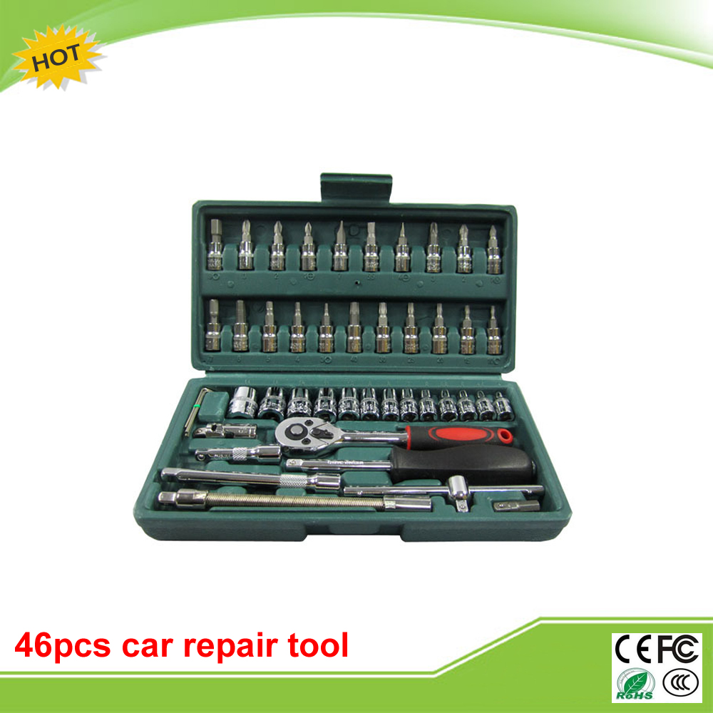 46pcs/lot steel auto sleeve combination tool wrench set of hardware car repair tools 2pcs lot 4 in 1 r134a conditioner valve wrench moto car bike motorcycle tyre repair tools of tires reifen reparatur hw258