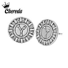 Chereda Vintage Round Men Stud Earrings Viking Sign Antique Silver Earring Women Statement Jewelry Ethnic Accessories