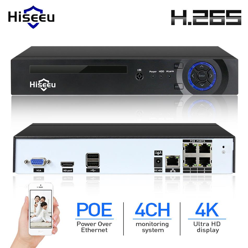 Hiseeu H.265 H.264 4CH 48V POE IP Camera NVR Security Surveillance CCTV System P2P ONVIF 8*2MP/4*5MP/ 4K Network Video Recorder h 265 h 264 2mp 4mp 5mp full hd 1080p bullet outdoor poe network ip camera cctv video camara security ipcam onvif rtsp