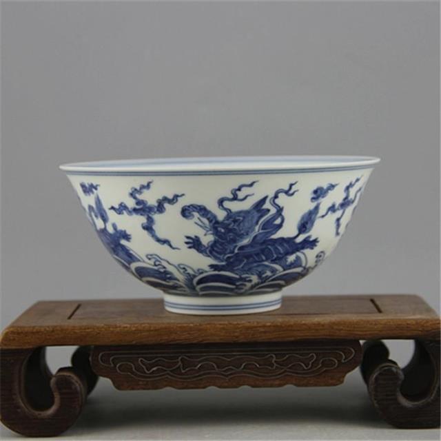 Bol antique en porcelaine mingdynastie, bol à motif de morse bleu et blanc, artisanat peint à la main, décoration, collection et parure