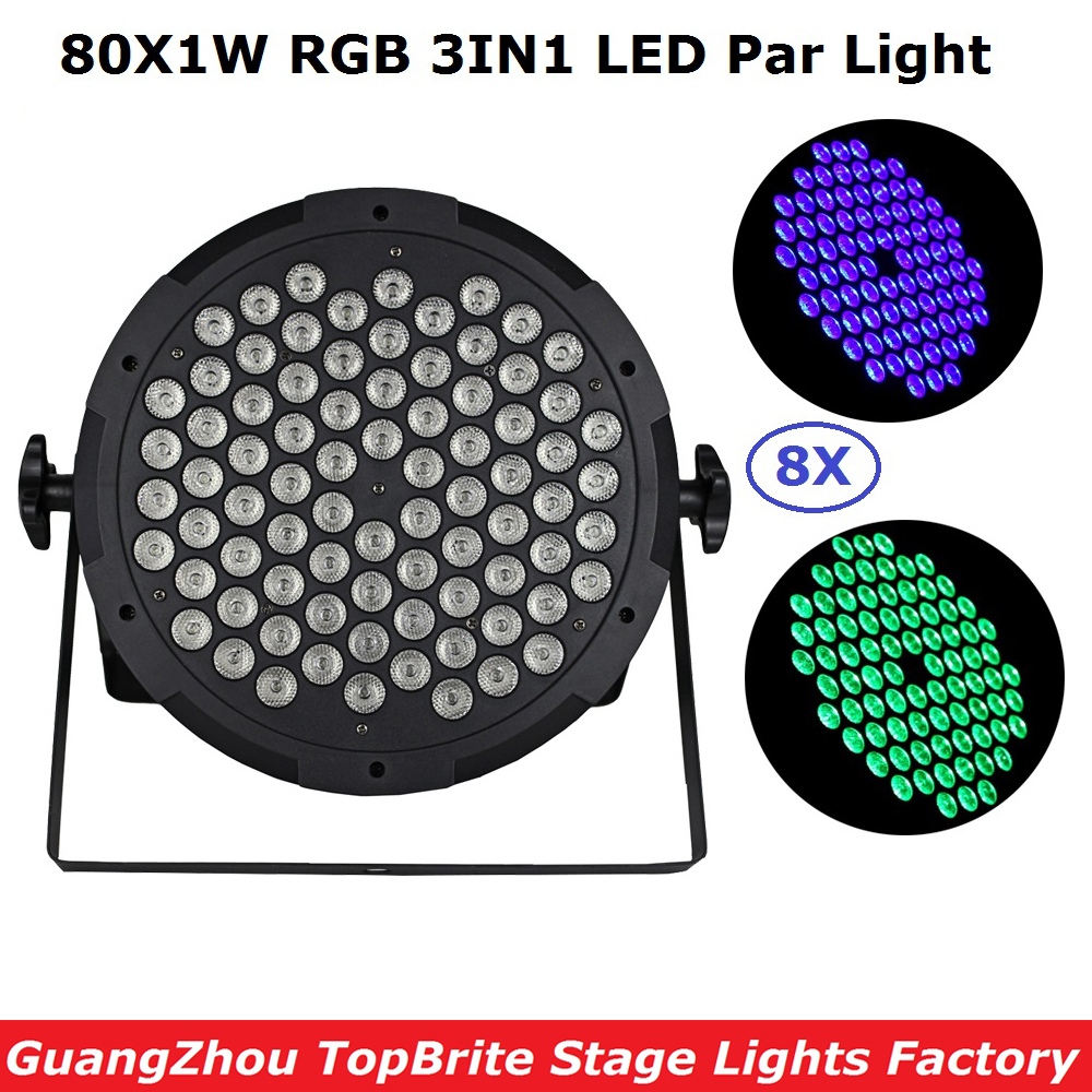 8Pack EU/US Plug Newest LED Flat Par Light High Power 80X1W RGB 3IN1 LED Stage Dj Lights 90-240V For Party Wedding Christmas eu plug 48 led rgb voice activated auto rotating party stage light transparent ac 90 240v