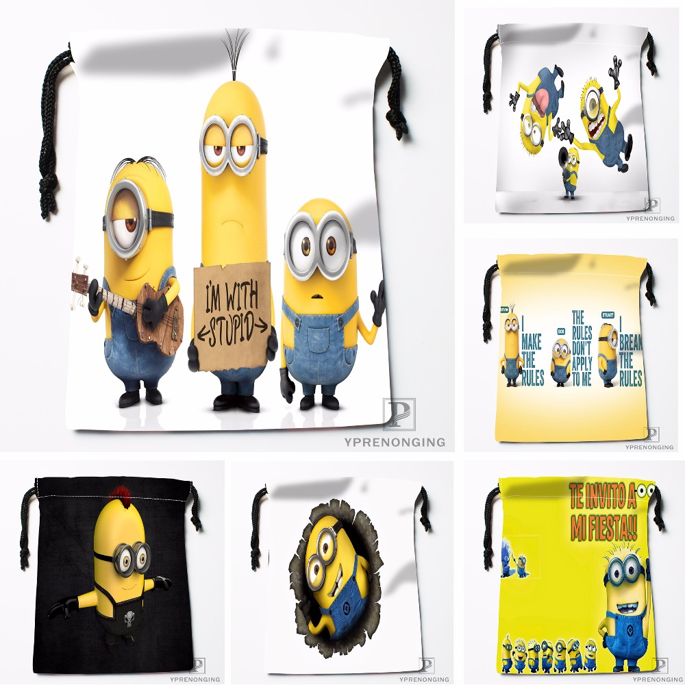 Custom Despicable Me Minions Drawstring Bags Travel Storage Mini Pouch Swim Hiking Toy Bag Size 18x22cm#0412-11-113