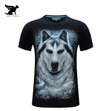 3D T-Shirt Men's 2017 Summer Fashion funny T-shirt wolf Printed O-neck plus size 6XL hip hop clothing black cool Male Tops Tees
