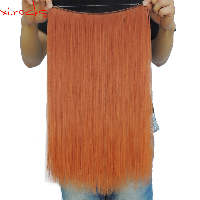 Xi.rocks 25 Colors 50g 20inch Halo Elastic Rope Hair Extension Synthetic Around the Head or Straight Sew in Weave Double Weft