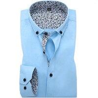 Wysokiej Jakości 100% Bawełna Mężczyźni Business Casual Długi Rękaw Koszula Mens Fashion Koszule Slim Fit Biała Koszula Druku Szwy Dla mężczyźni