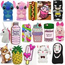 3D Cartoon Soft Silicone Mobile Phone Back Case Cover Skin Shell For Apple iPhone 4 5 5S 5C SE 6 6S 6 Plus 6S Plus цена