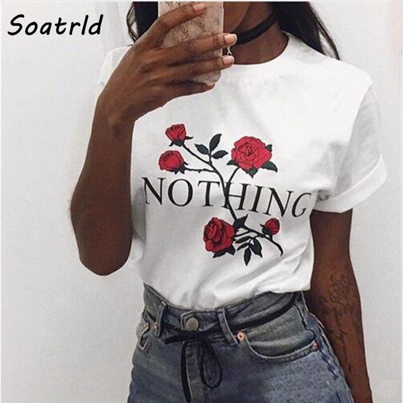 Nothing Letter Rose Print Female T Shirt  Harajuku T-Shirts Women 2017 New Summer Short Sleeve Casual Clothing Punk Tee Tops(China)