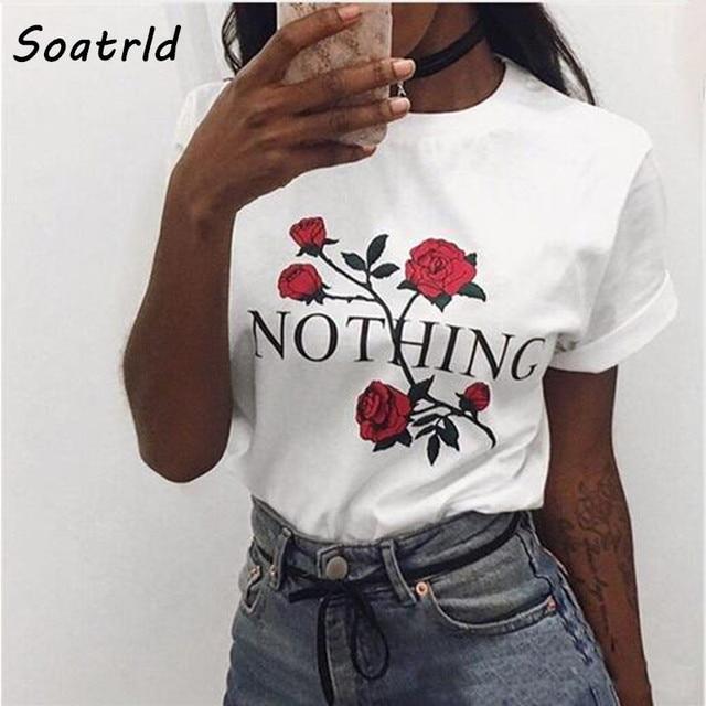 Nichts Brief Rosen-druck-lange Weibliche T-shirt Harajuku T-Shirts Frauen 2017 Neue Sommer Kurzarm Casual Kleidung Punk T Tops