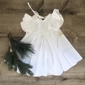 Image 3 - Retail Girls Dress Baby Clothes Summer White Green Flare Sleeve Ruffle Beautiful Kids Dresses for Girls E19074