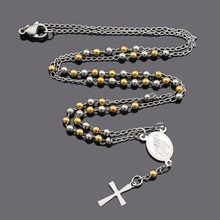 ATGO Fashion Jewelry Stainless Steel Rosary Necklace Virgin Mary Small Cross Pendant Necklaces For Men Women Religious Gifts