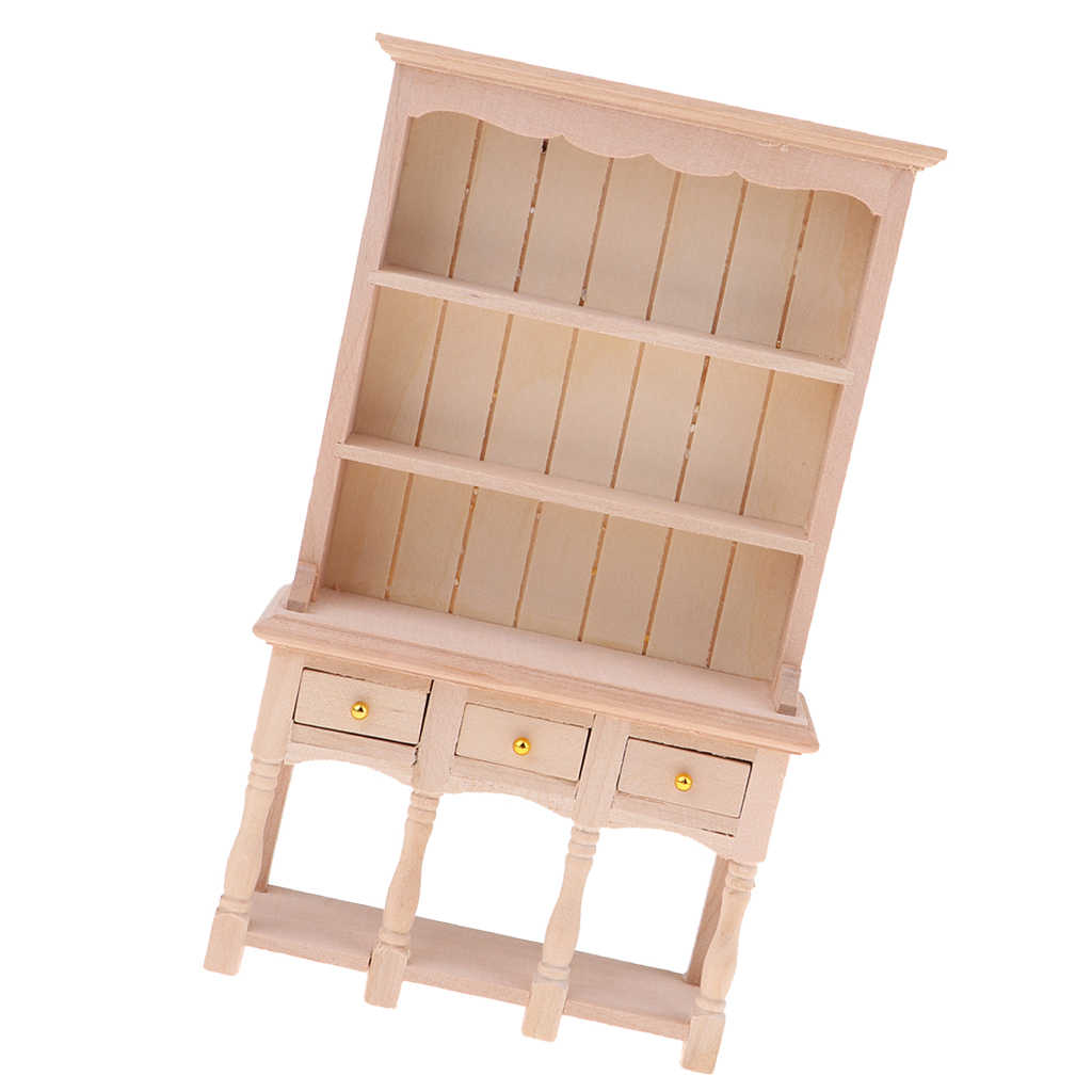 Diy Kast Model Keuken Eetkamer Kast Display Plank Poppenhuis Decoratie 1:12 Poppenhuisminiaturen