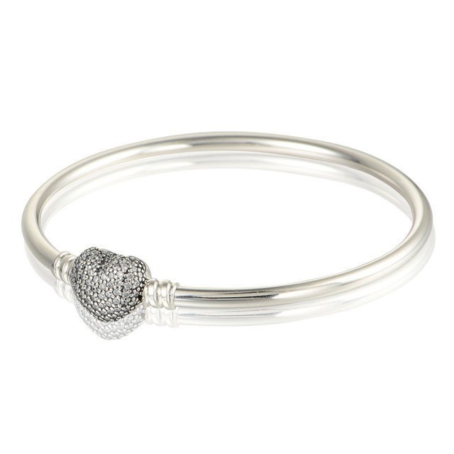 Authentic 925 Sterling Silver Pave Heart Bangle with Clear CZ Bracelets For Women Fits European Famous Brand Jewelry Accessories