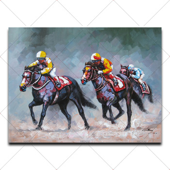 Large Hand Painted Modern Abstract Horse Riding Texture Oil Painting on Canvas Living Room Wall Picture Painting Home Decor Art