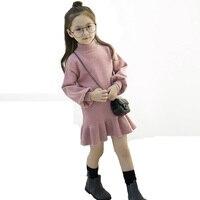 2017 Autumn Winter Girls Dress Long Sleeve Sweater Dress Ruffle Turtleneck Kids Knitted Dresses For Girls