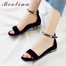 Meotina Genuine Leather Women Sandals Chunky Heels Summer Shoes 2019 Peep Toe Suede Shoes Black Buckle Bling Big Size 33-46 11(China)