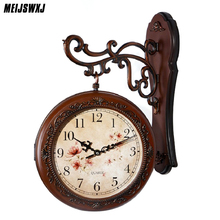 European antique pastoral sided wall clock creative rotation