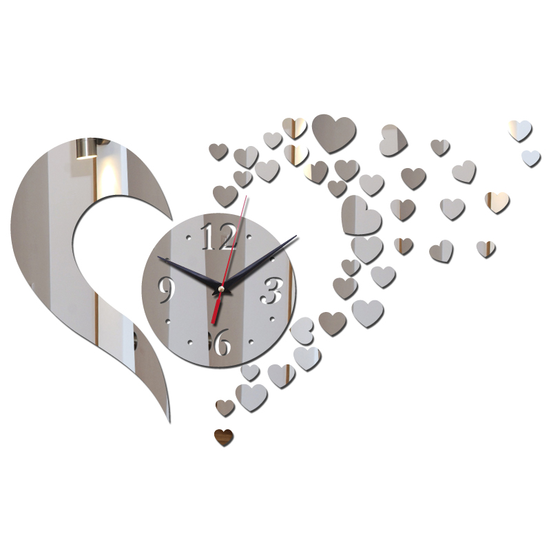 Top Sale Wall Quartz Clocks Europe Style Hearts Decor Wall Watches For Living Room Diy Mirror Acrylic Material Wall Sticker