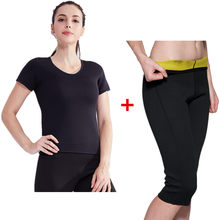 Vrouwen Afslanken Broek Korte Mouwen Set Body Shapers T-Shirt Thermo Neopreen Sauna Zweet Corset Controle Slipje Super Stretch Pak(China)