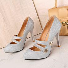 380027b8b7 Big size 34-45 Sapatos Mulher 2017 Nova Chegada das senhoras de Casamento  sapatos de salto alto Mulheres dedo apontado Bombas de.