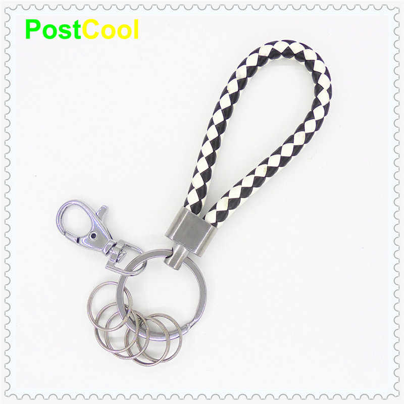 Fashion Jewelry with 5 samll Split rings 1 Lobster clasp Leather Rope Woven Keyfob Keychain Key Ring Key Holder AutoKey DIY AE