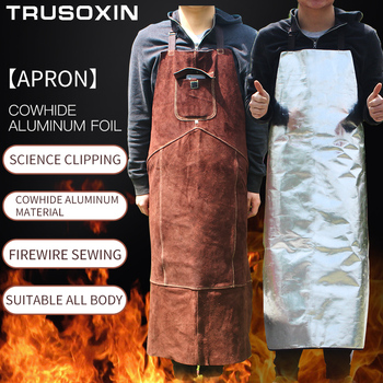 Professional welding apron leather cowhide electric protective brown