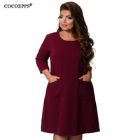 Cocoepps 5xl 6xl Solid Large Size Women Dresses 2019 Autumn Casual