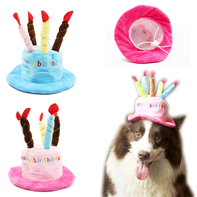 Divertido Tapas Para Perros Gatos Mascotas Caps Sombrero de Cumpleaños Con  Velas de la torta de 5040a5aa5dd