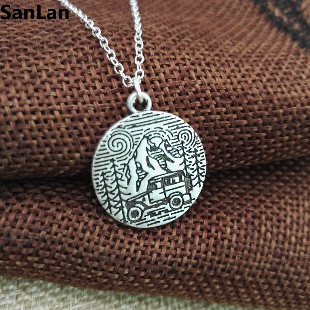 10pcs new arrival hot sell Jeep Car Necklace in pine tree mountain love necklace good day for travling SanLan