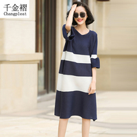2017Summer Miyak pleated flank sleeves fold women's dress Fashion in the long paragraph stitching lotus pink fold dress dt898090