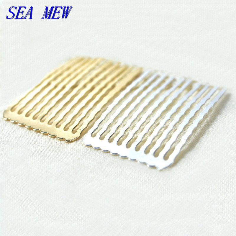 20 PCS 50mm Length Hair Combs Base 7 Colors Plated Brass 5/10/13 Teeth Hair Combs Setting For Women Jewelry Making