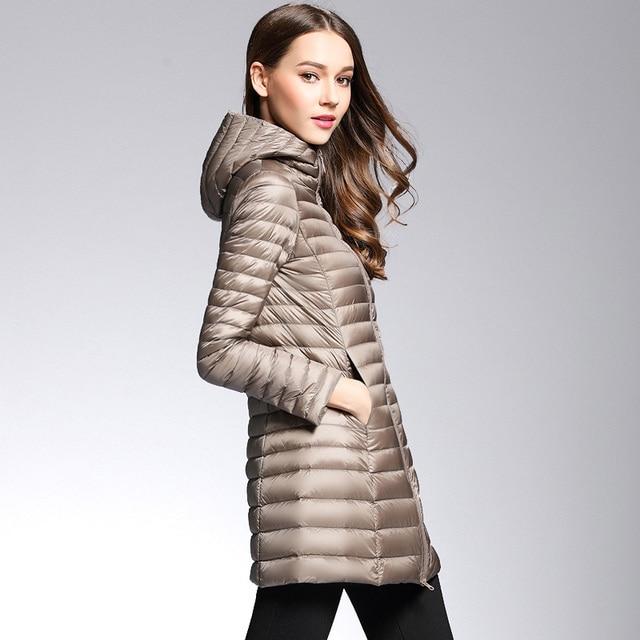 2017 여성 봄 패딩 후드 긴 재킷 흰색 오리 다운 여성 외투 울트라 라이트 슬림 솔리드 자켓 코트 휴대용 파카