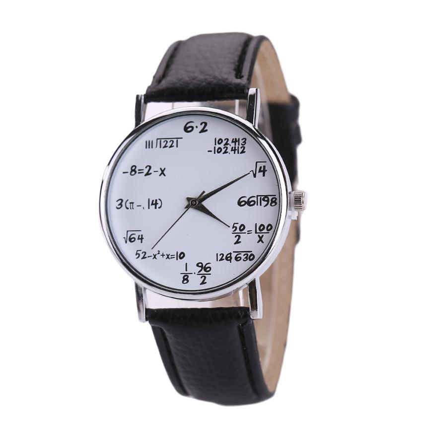 Hot Selling Women Mens Watches Unisex Students Math Formula Clock Leather Band Stainless Steel Dial Quartz Wrist Watch Oct27(China)
