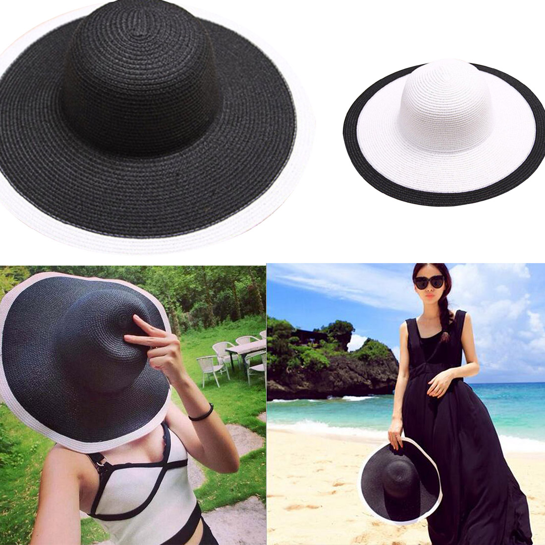 New Spring Summer Hats For Women Flower Beads Wide Brimmed Jazz Panama Hat  Sun Visor Beach Hat Flower Pearl rivet Straw HatUSD 5.99 piece ... 30b39128f7e8