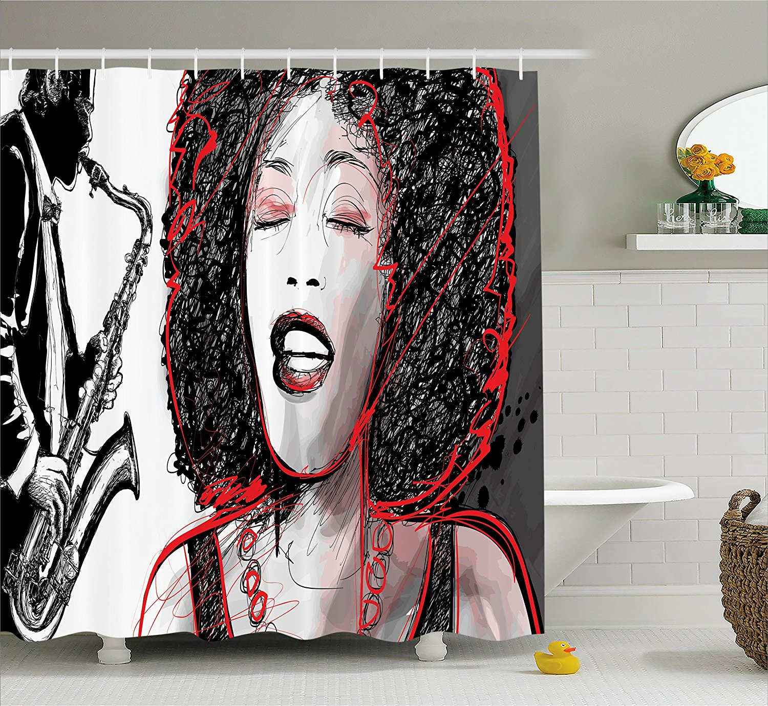 Shower Curtain by Ambesonne, African American Girl Singing with Saxophone Player Popular Sound Design