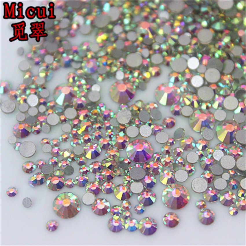 Micui 1440pcs Mix 6 Size Glass crystal AB Rhinestones Flat Back Round Nail  Art Stones Non 185b1767f1e9
