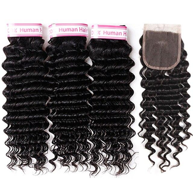 Deep Wave Bundles With Closure 100% Brazilian Human Hair Deep Wave Bundles Weaving Double Weft With Closure Non Remy Rcmei