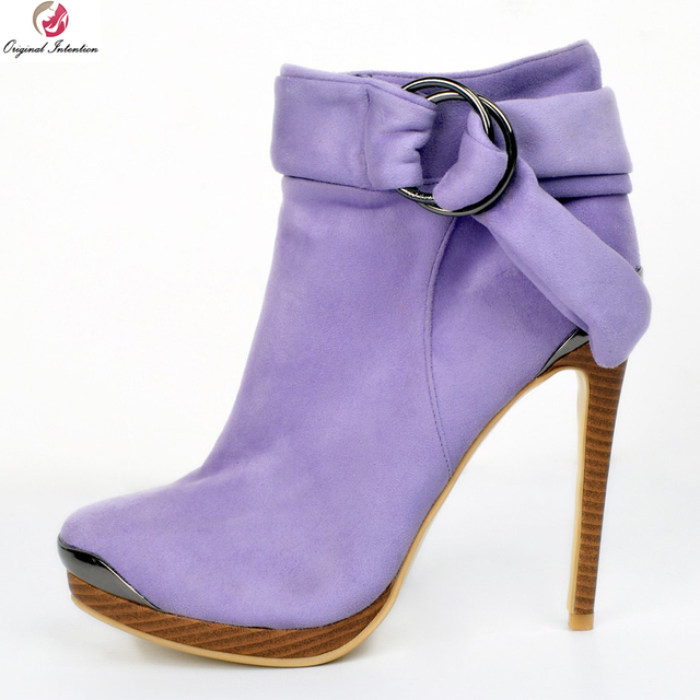 ac69947ce797 Original Intention Elegant Women Ankle Boots Beautiful Round Toe Thin Heel  Boots High-quality Purple Shoes Woman Plus Size 4-15