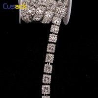 1 Yard 0.8 Inches Vierkante Kristallen Steentjes Versieringen Chain Applique voor Trouwjurk Tas Trimmings Apparel Naaien Ambachten Zilver