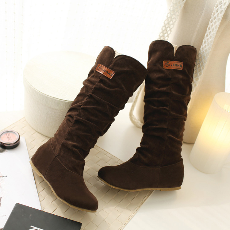 Big size 34-46 Autumn winter style high women woman femininas mid-calf  boots botas mujer chaussure femme  casual  shoes TD-662 купить дешево онлайн