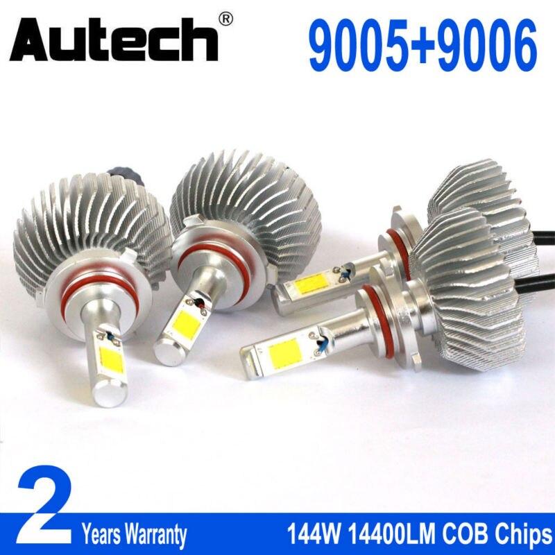 Autech 2 Pairs 9006 + 9005 LED Headlight Bulb Car Headlamp Bulbs Auto Head Lights 144W 14400LM HB4 HB3 COB Chips 12V Fog Bulbs